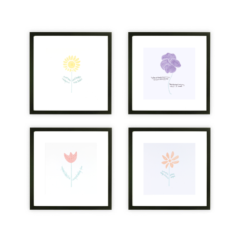 Botanical Art Print Collection with Quote