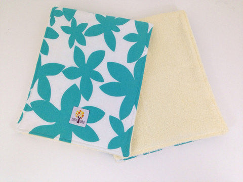 Burp Cloths, Emerald Green Marby Flowers - set of 2