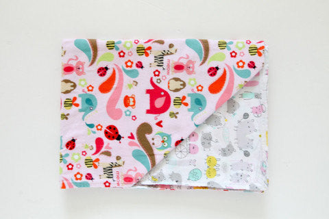 Stroller Blanket - Flannel & Organic Cotton - Forest Friends - Pink