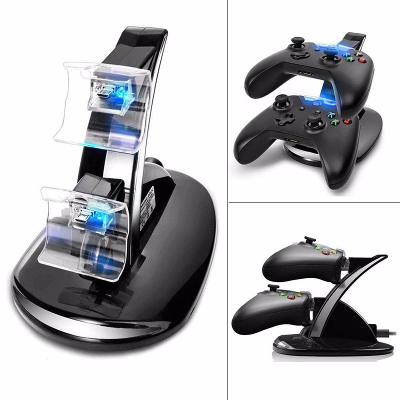 USB LED Dual Controller Charging Dock