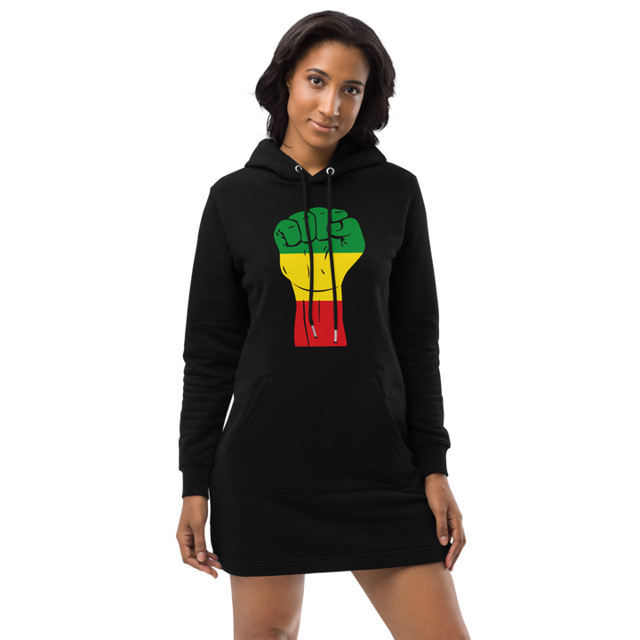 Raised Fist 'Rasta' — Organic Hoodie Dress