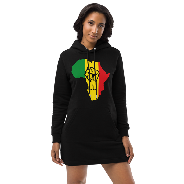 Raised Fist 'Africa' (rasta/black) — Organic Hoodie Dress