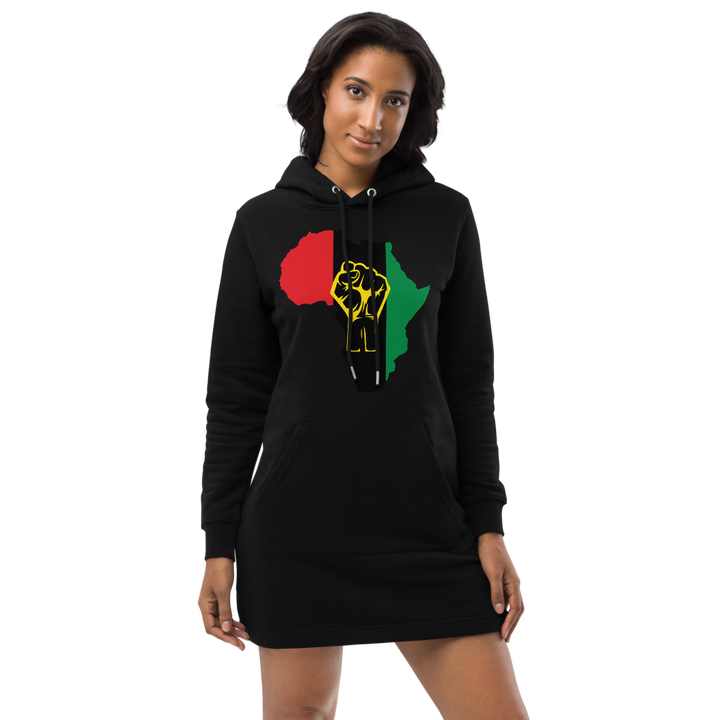 Raised Fist 'Africa' (UNIA/yellow) — Organic Hoodie Dress