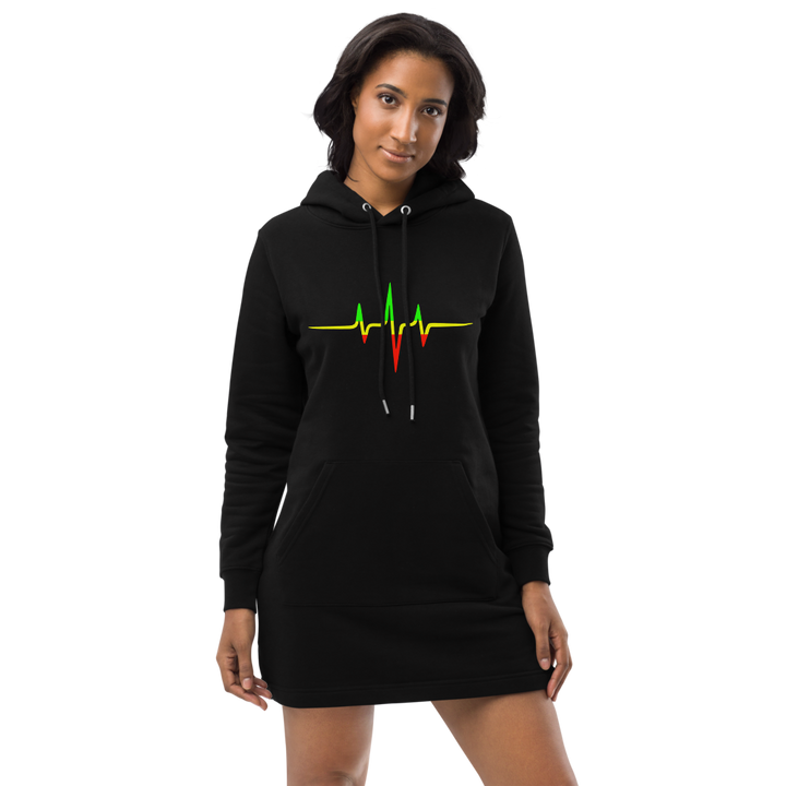 Rasta Heartbeat — Organic Hoodie Dress