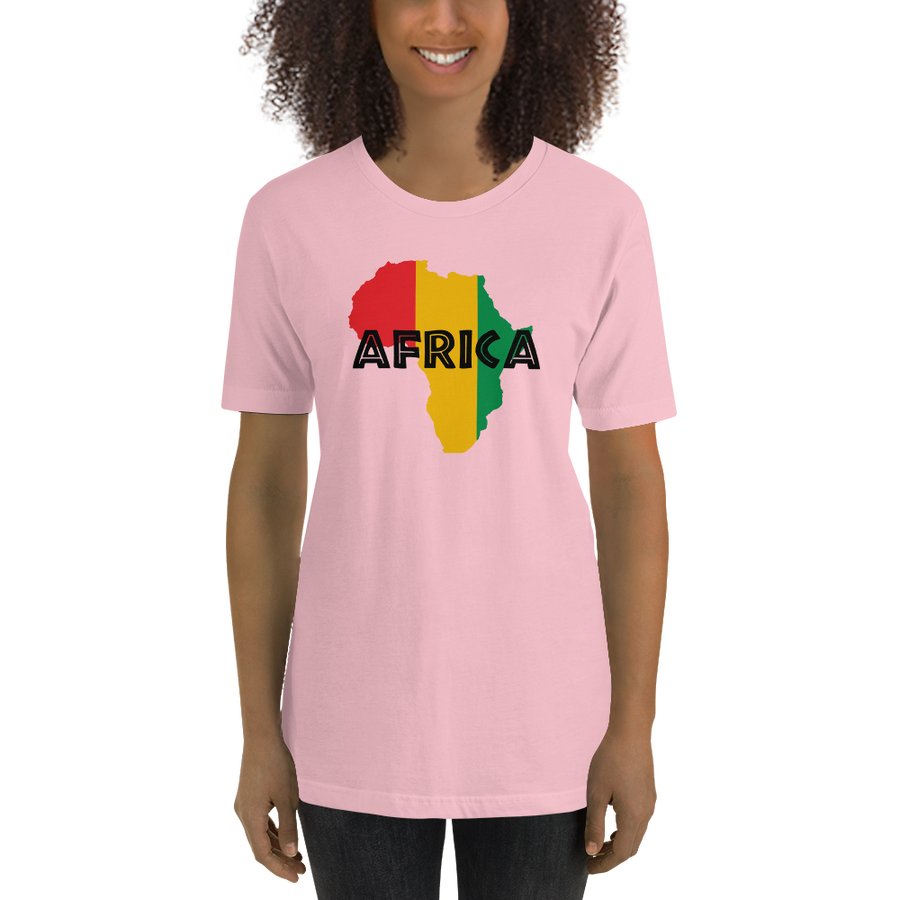 This light pink premium quality T-shirt from Natty Wear is made of 100% high-quality combed ringspun cotton. The front print portrays a map of Africa in the Rastafarian colors