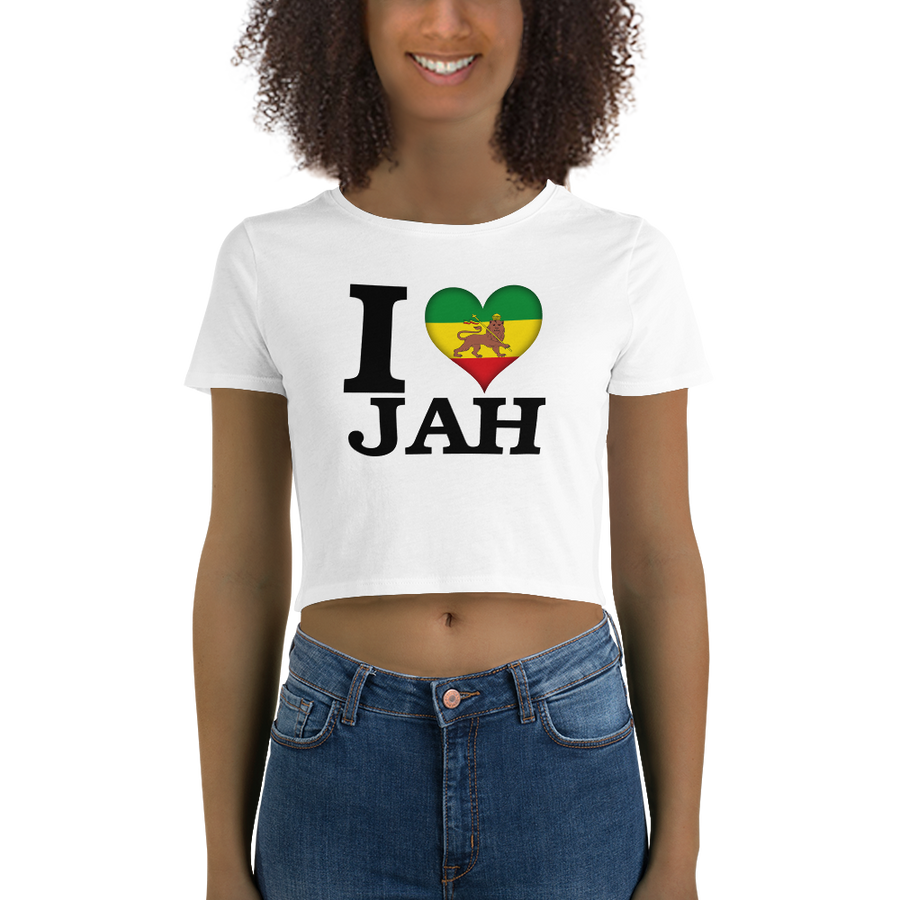 I ❤ JAH (RASTA/BLACK) — Women's Crop Tee