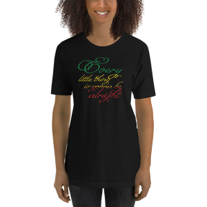 This premium quality T-shirt from Natty Wear is made of 100% high-quality combed ringspun cotton*. The front print portrays the text ' Every little thing is gonna be alright' written in a stylish font in the Rastafarian colors (red, gold/yellow, green), which are also known as the Pan-African colors