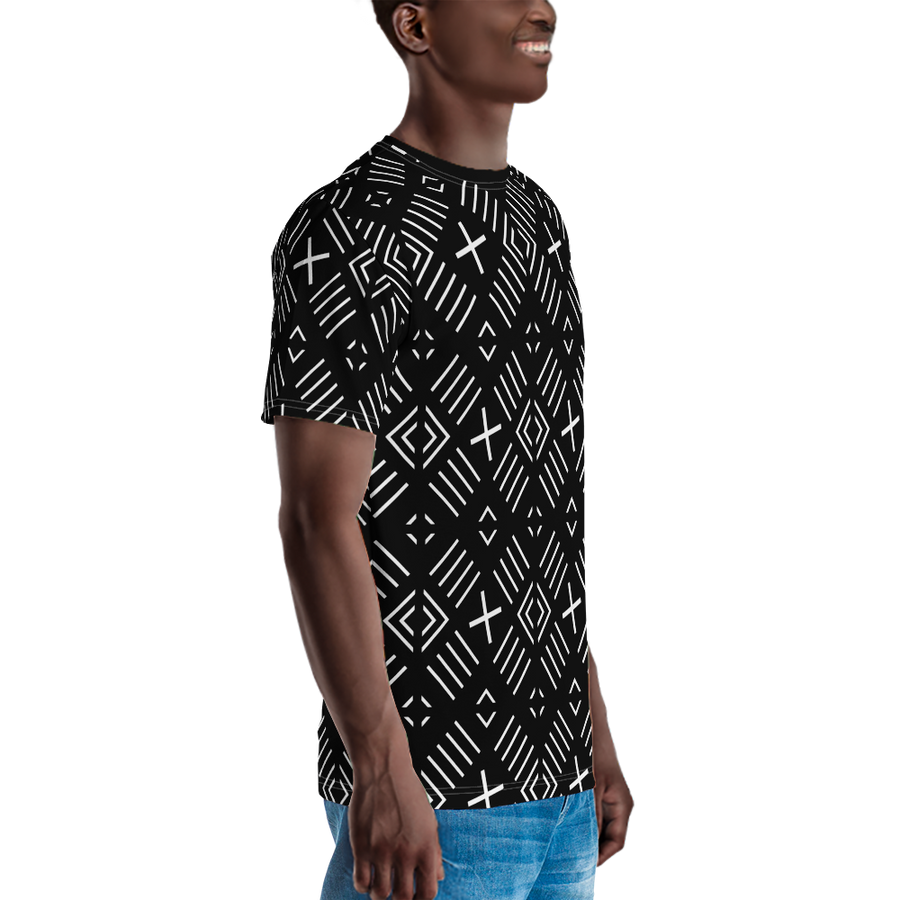 BÒGÒLANFINI 'FILA' (BLACK/WHITE) — Hand-sewn Men's Crew Neck T-shirt