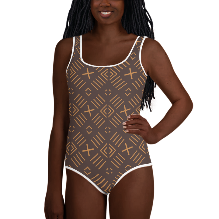 BÒGÒLANFINI 'FILA' (COCOA/SAND) — Hand-sewn Youth Swimsuit