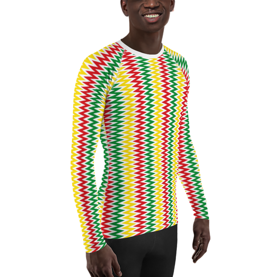ASANTE KENTE 'ZIG-ZAG' (WHITE/RASTA) — Hand-sewn Men's Rash Guard