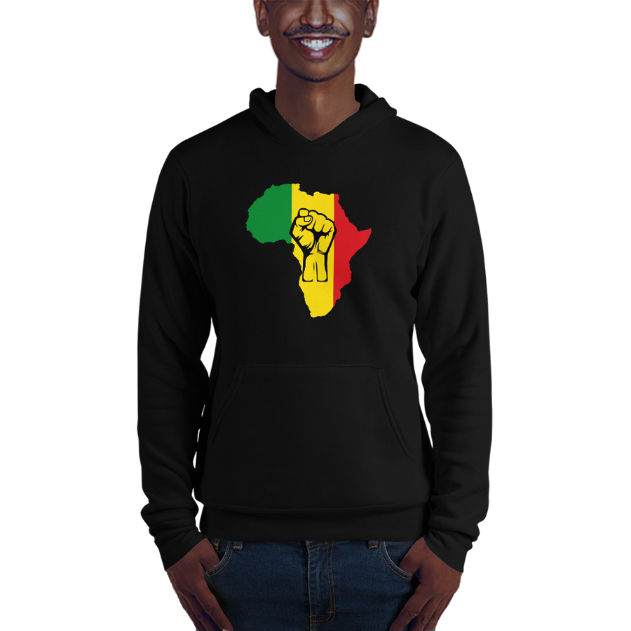 This black hoodie from Natty Wear is made of 52% ringspun cotton and 48% polyester fleece*. The front print portrays a map of Africa in the Rastafarian colors (red, gold/yellow, green), which are also known as the Pan-African colors, with black color used for the outlines of a raised fist which overlays the image