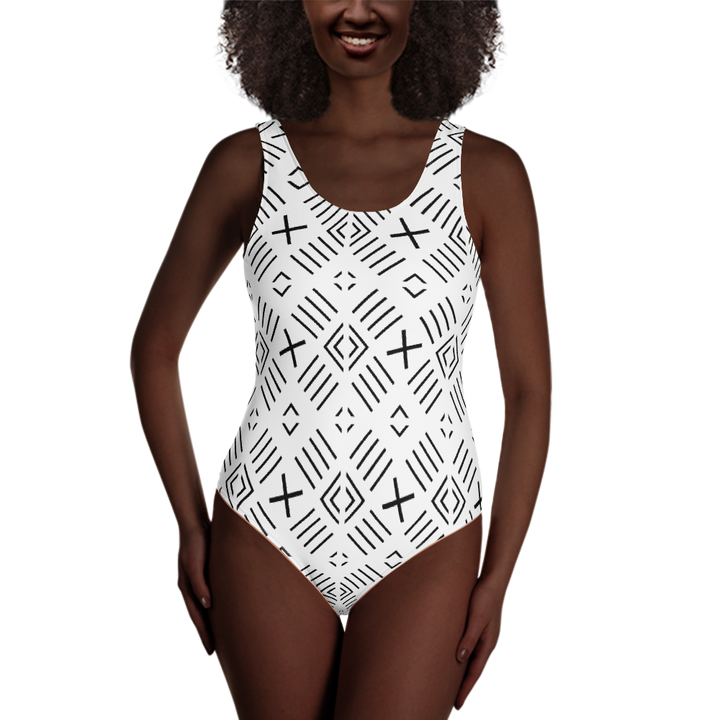 BÒGÒLANFINI 'FILA' (WHITE/BLACK) — Hand-sewn One-Piece Swimsuit