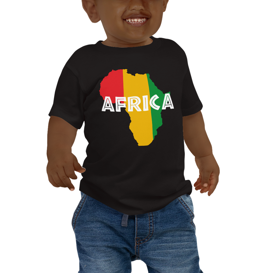 This black short-sleeved baby T-shirt from Natty Wear is made of 100% cotton. The front print portrays a map of Africa in the Rastafarian colors (red, gold/yellow, green), which are also known as the Pan-African colors, with white color used for the text of the word 'Africa' which overlays the image