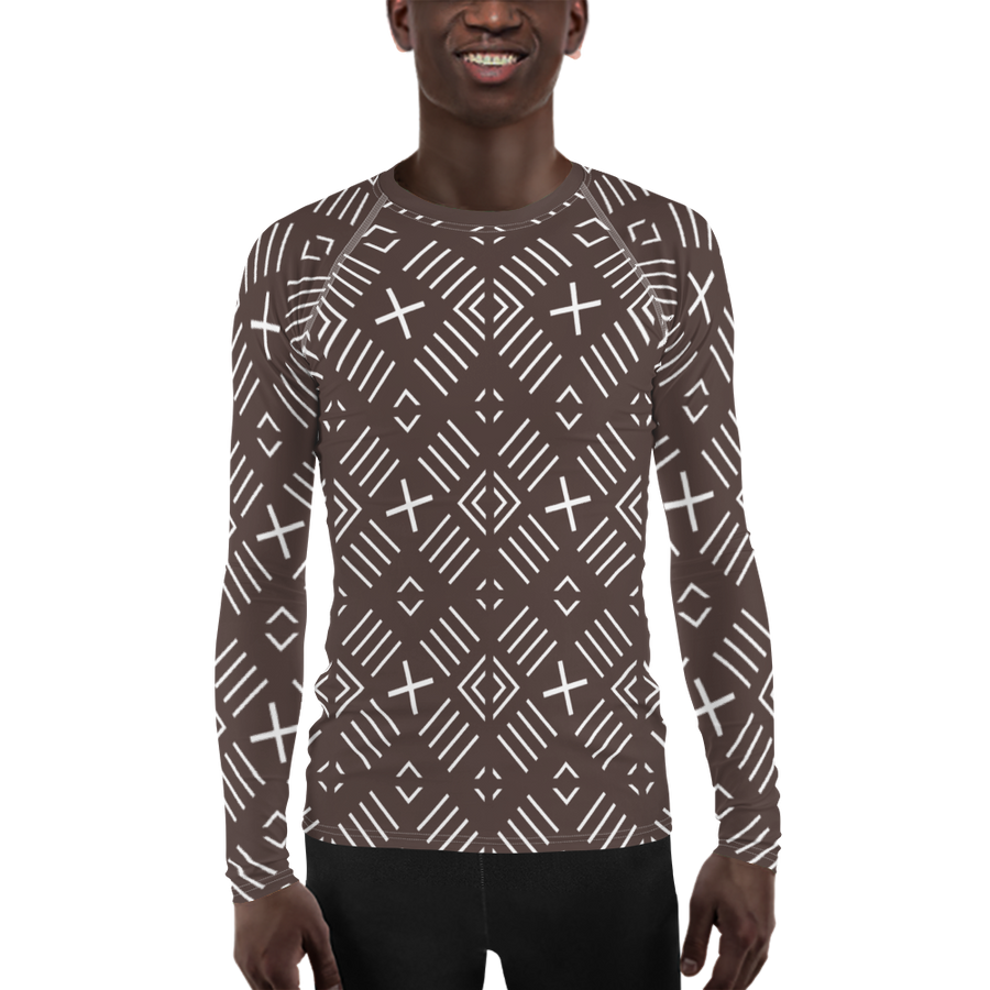 BÒGÒLANFINI 'FILA' (COCOA/WHITE) — Hand-sewn Men's Rash Guard
