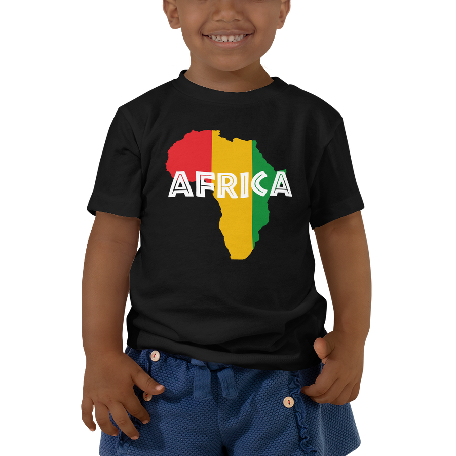 This black short-sleeved toddler Tee from Natty Wear is made of 100% cotton. The front print portrays a map of Africa in the Rastafarian colors (red, gold/yellow, green), which are also known as the Pan-African colors, with white color used for the text of the word 'Africa' which overlays the image