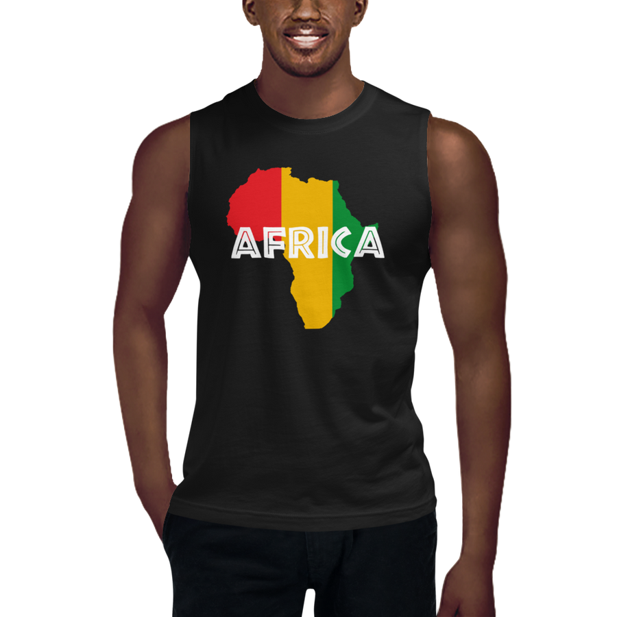 This black sleeveless muscle shirt from Natty Wear is made of 100% combed ringspun cotton. The front print portrays a map of Africa in the Rastafarian colors