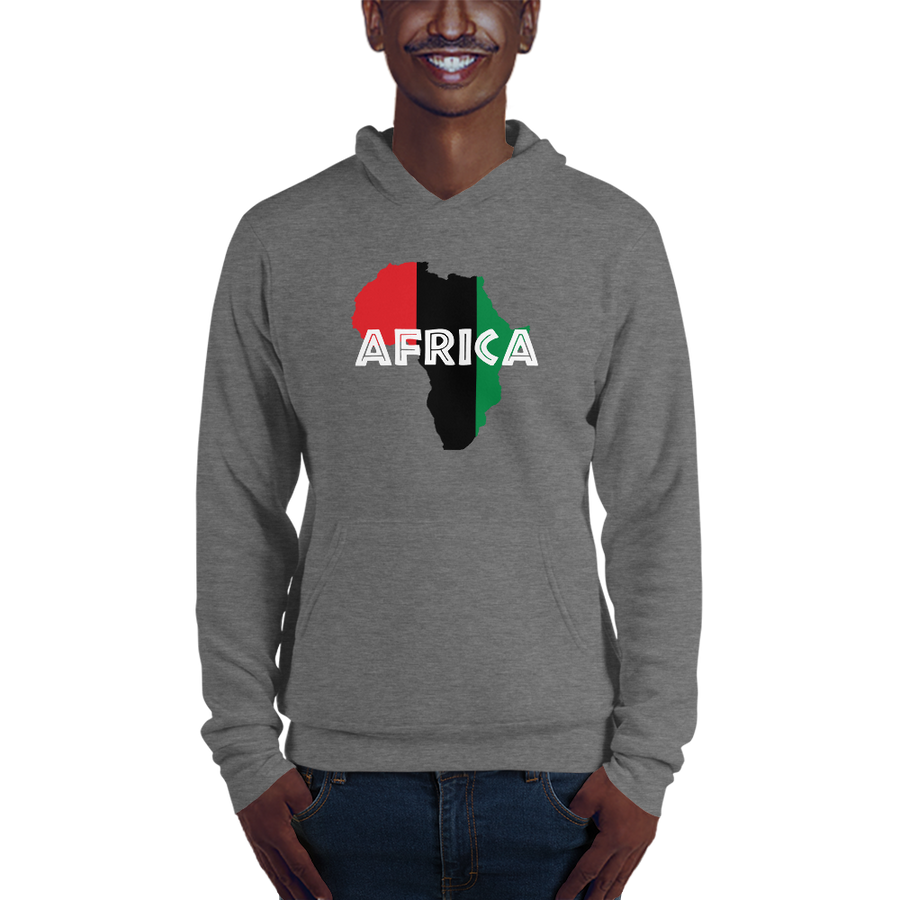 This grey hoodie from Natty Wear is made of 60% ringspun cotton and 40% polyester fleece. The front print portrays a map of Africa in the UNIA colors (red, black, green), which are also known as the Pan-African colors, with white color used for the text of the word 'Africa' which overlays the image