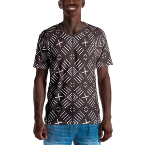 BÒGÒLANFINI 'FILA' (COCOA/WHITE) — Hand-sewn Men's V-Neck T-shirt