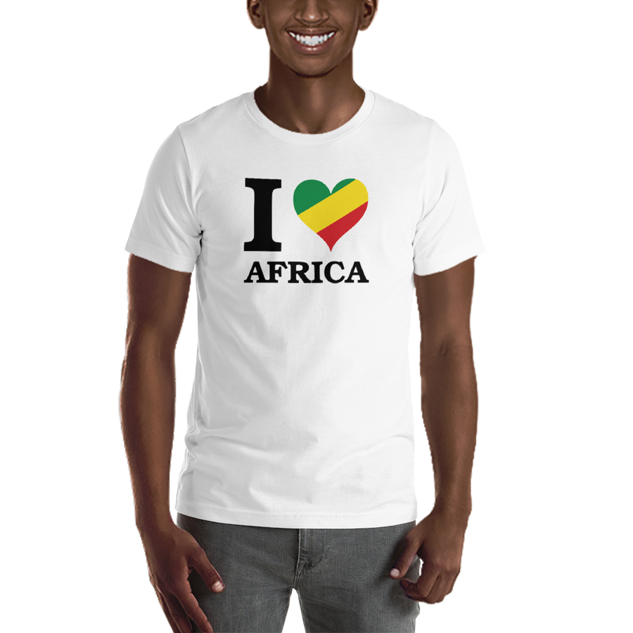 This white premium quality T-shirt from Natty Wear is made of 100% high-quality combed ringspun cotton*. The front print portrays the capital letter 'I' in black color, followed by a heart symbol (❤) in the Rastafarian colors (red, gold/yellow, green), which are also known as the Pan-African colors, below is the word 'AFRICA' set in capital letters in black color