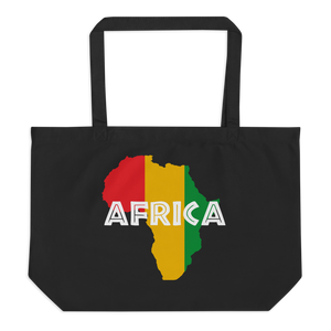 This organic tote bag from Natty Wear is made of 100% certified organic cotton. The front print portrays a map of Africa in the Rastafarian colors (red, gold/yellow, green), which are also known as the Pan-African colors, with white color used for the text of the word 'Africa' which overlays the image