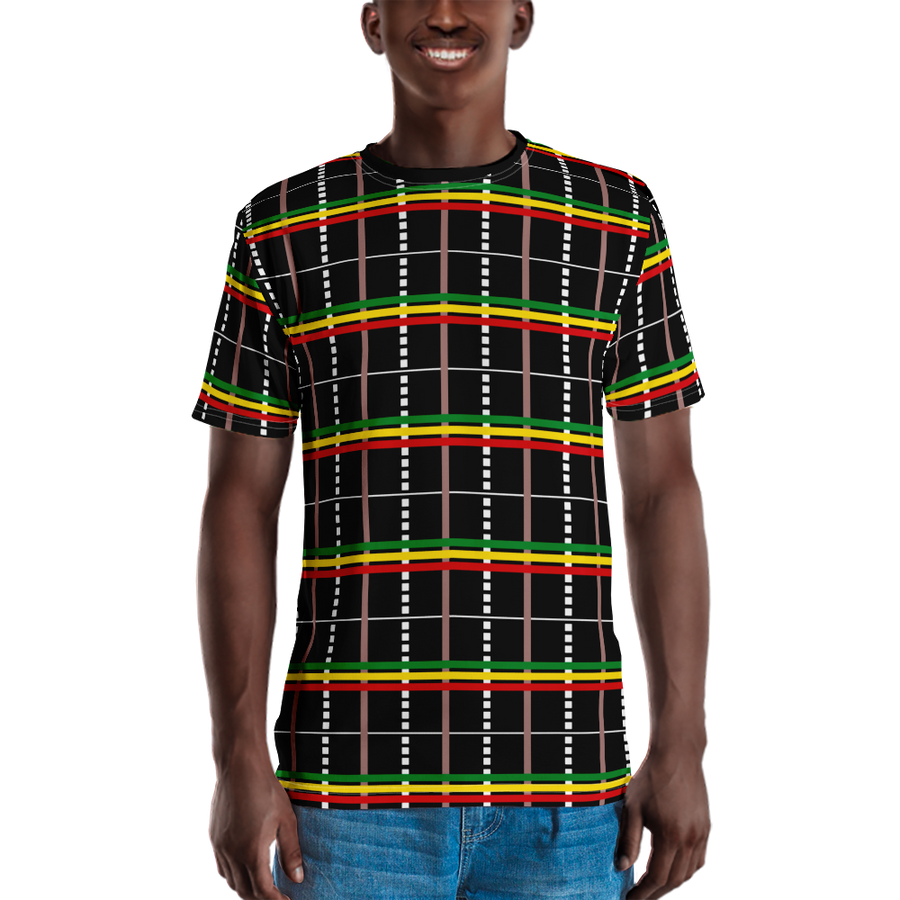 ASA-OKE (BLACK/RASTA) — Hand-sewn Men's Crew Neck T-shirt