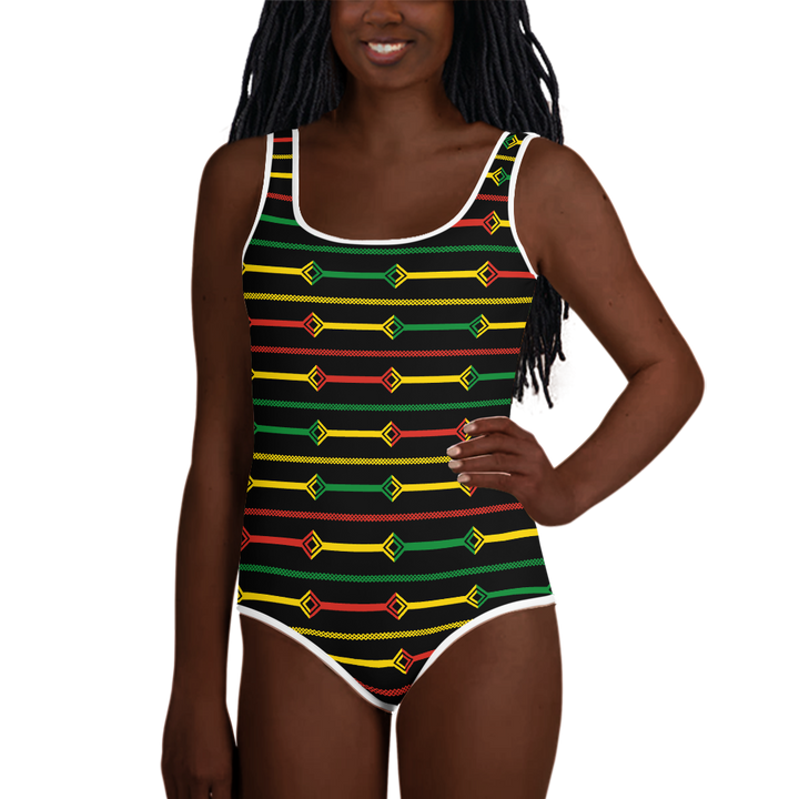 DOGON (BLACK/RASTA) — Hand-sewn Youth Swimsuit