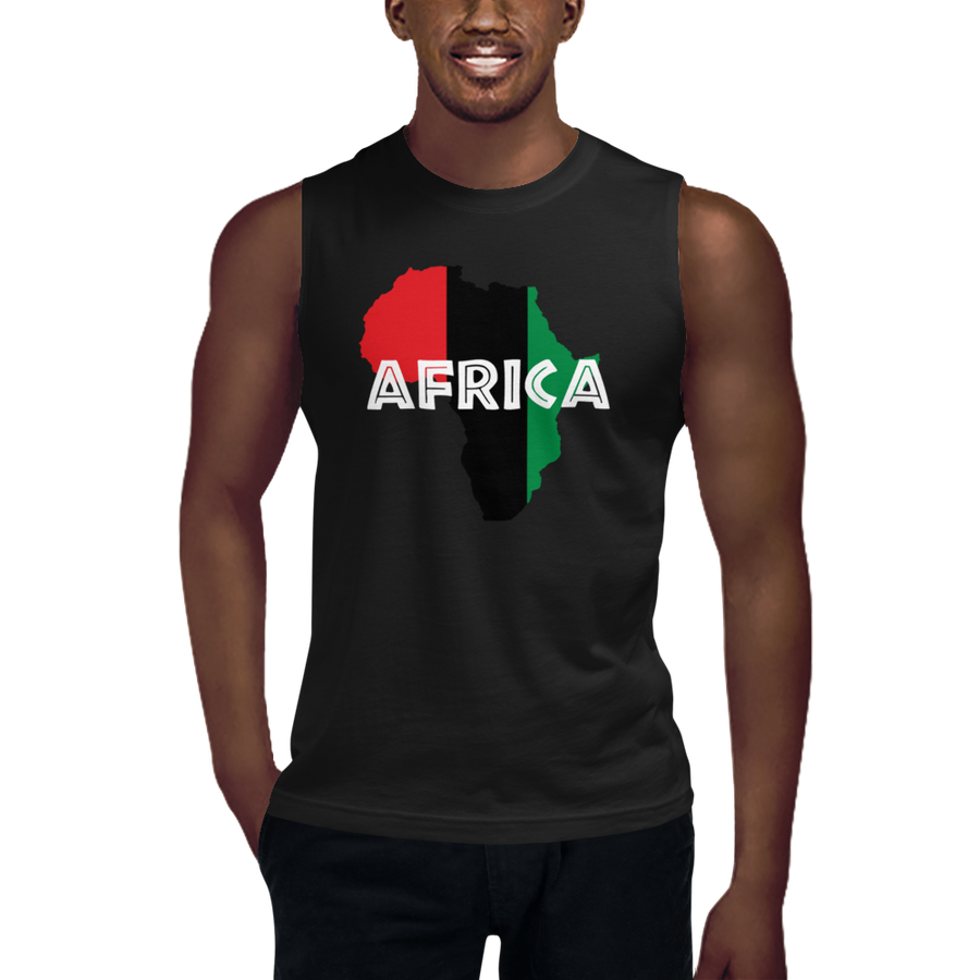 This black sleeveless muscle shirt from Natty Wear is made of 100% combed ringspun cotton. The front print portrays a map of Africa in the UNIA colors (red, black, green), which are also known as the Pan-African colors, with white color used for the text of the word 'Africa' which overlays the image