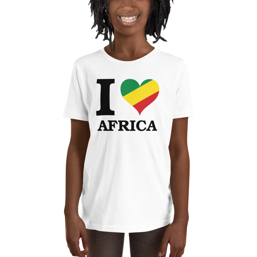 This white short-sleeved youth Tee from Natty Wear is made of 100% soft jersey cotton*. The front print portrays the capital letter 'I' in black color, followed by a heart symbol (❤) in the Rastafarian colors (red, gold/yellow, green), which are also known as the Pan-African colors, below is the word 'AFRICA' set in capital letters in black color