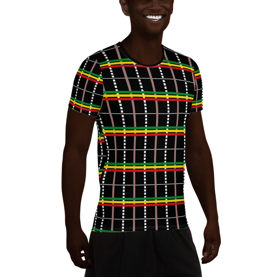 Asa-Oke (Black/Rasta) — Hand-sewn Men's Sports T-shirt