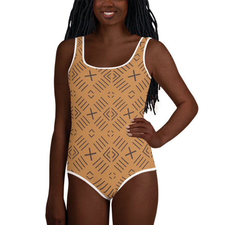BÒGÒLANFINI 'FILA' (SAND/COCOA) — Hand-sewn Youth Swimsuit