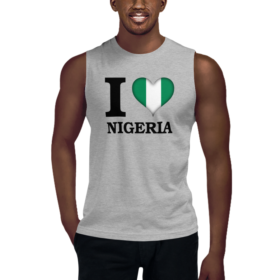I ❤ NIGERIA (BLACK) — Men's Muscle Shirt