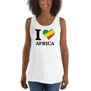 This white premium quality unisex Tank Top from Natty Wear is made of 100% ringspun cotton. The front print portrays the capital letter 'I' in black color, followed by a heart symbol (❤) in the Rastafarian colors (red, gold/yellow, green), which are also known as the Pan-African colors, below is the word 'AFRICA' set in capital letters in black color