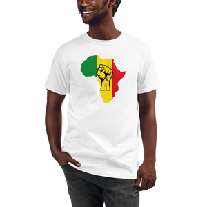 RAISED FIST 'AFRICA' (RASTA/BLACK) — Men's Organic T-shirt