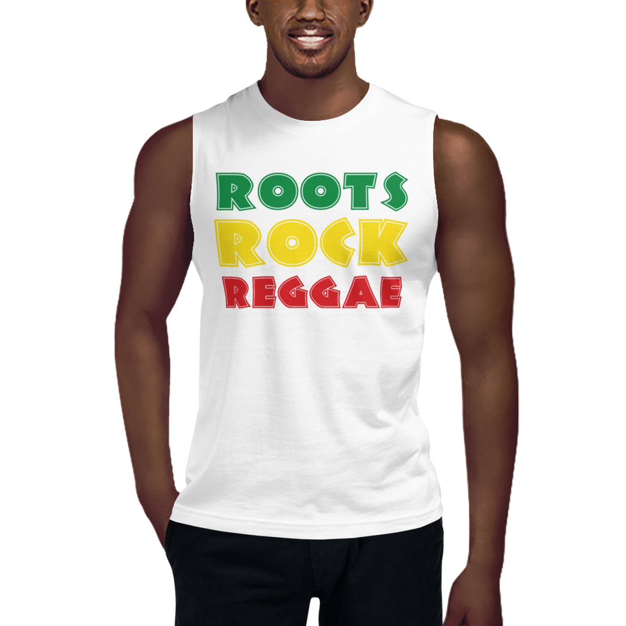 This sleeveless muscle shirt from Natty Wear is made of 100% combed ringspun cotton. The front print portrays the text 'ROOTS ROCK REGGAE' written in a stylish font in the Rastafarian colors (red, gold/yellow, green), which are also known as the Pan-African colors