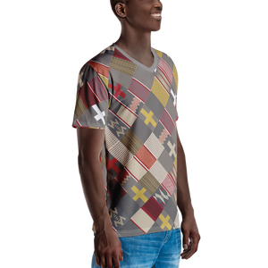 EWE KENTE 'DEKA' — Hand-sewn Men's V-Neck T-shirt