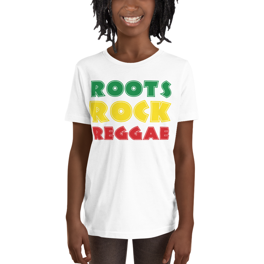 This white short-sleeved youth Tee from Natty Wear is made of 100% soft jersey cotton*. The front print portrays the text 'ROOTS ROCK REGGAE' written in a stylish font in the Rastafarian colors (red, gold/yellow, green), which are also known as the Pan-African colors