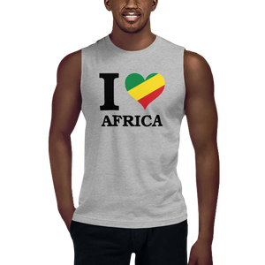 I ❤ AFRICA (RASTA/BLACK) — Men's Muscle Shirt