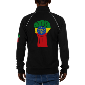 RAISED FIST 'ETHIOPIA' — Men's Piped Fleece Jacket
