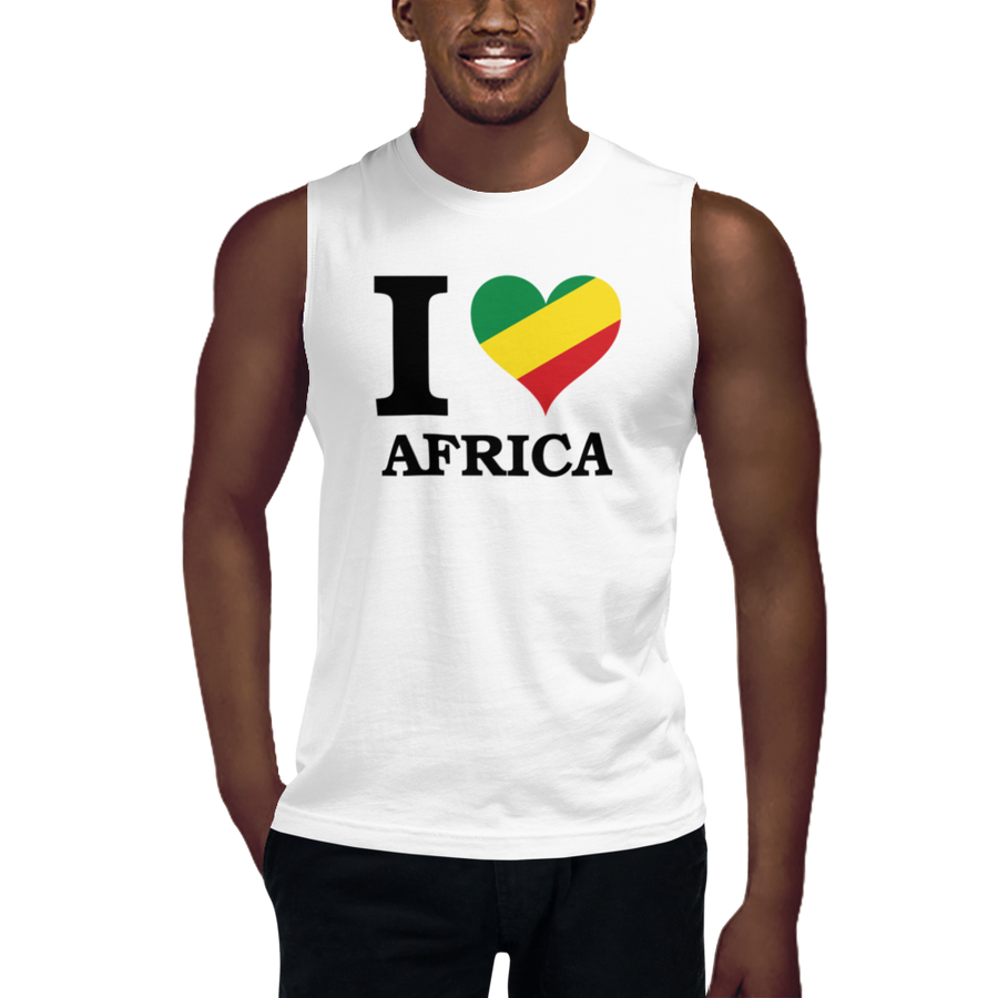 This white sleeveless muscle shirt from Natty Wear is made of 100% combed ringspun cotton. The front print portrays the capital letter 'I' in black color, followed by a heart symbol (❤) in the Rastafarian colors (red, gold/yellow, green), which are also known as the Pan-African colors, below is the word 'AFRICA' set in capital letters in black color