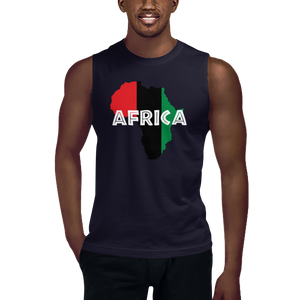 This navy blue sleeveless muscle shirt from Natty Wear is made of 100% combed ringspun cotton. The front print portrays a map of Africa in the UNIA colors (red, black, green), which are also known as the Pan-African colors, with white color used for the text of the word 'Africa' which overlays the image