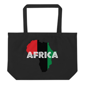 This black organic tote bag from Natty Wear is made of 100% certified organic cotton. The front print portrays a map of Africa in the UNIA colors (red, black, green), which are also known as the Pan-African colors, with white color used for the text of the word 'Africa' which overlays the image