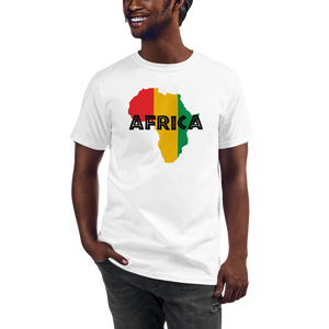 This white T-shirt from Natty Wear is made of 100% organic cotton that's been grown and harvested without any synthetic fertilizers or pesticides. The front print portrays a map of Africa in the Rastafarian colors