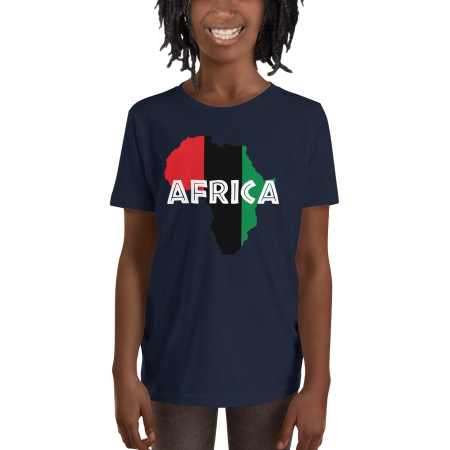 This navy blue short-sleeved youth Tee from Natty Wear is made of 100% soft jersey cotton. The front print portrays a map of Africa in the UNIA colors (red, black, green), which are also known as the Pan-African colors, with white color used for the text of the word 'Africa' which overlays the image