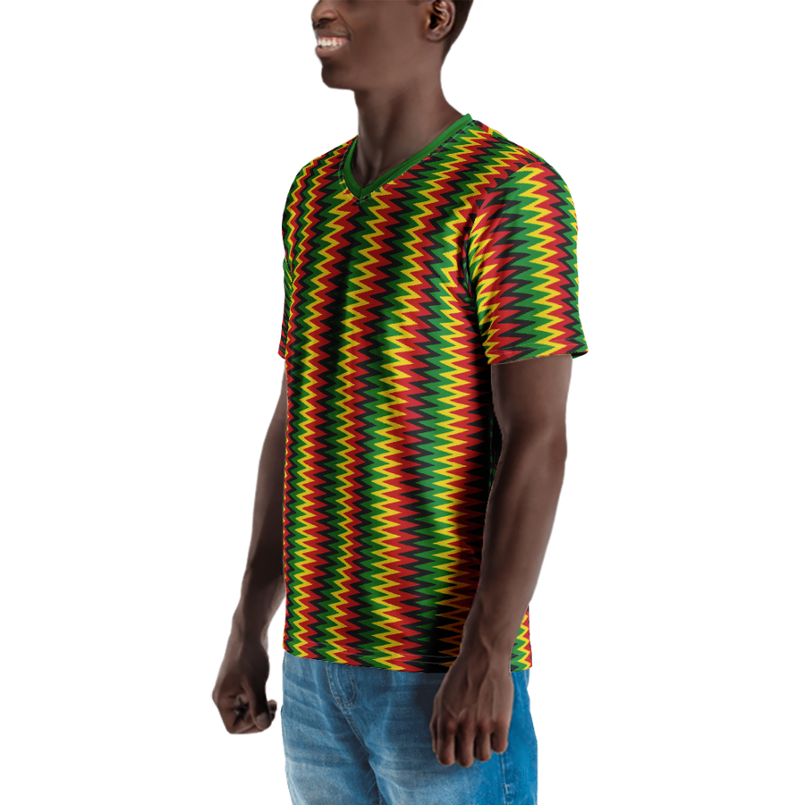 ASANTE KENTE 'ZIG-ZAG' (RASTA/BLACK) — Hand-sewn Men's V-Neck T-shirt