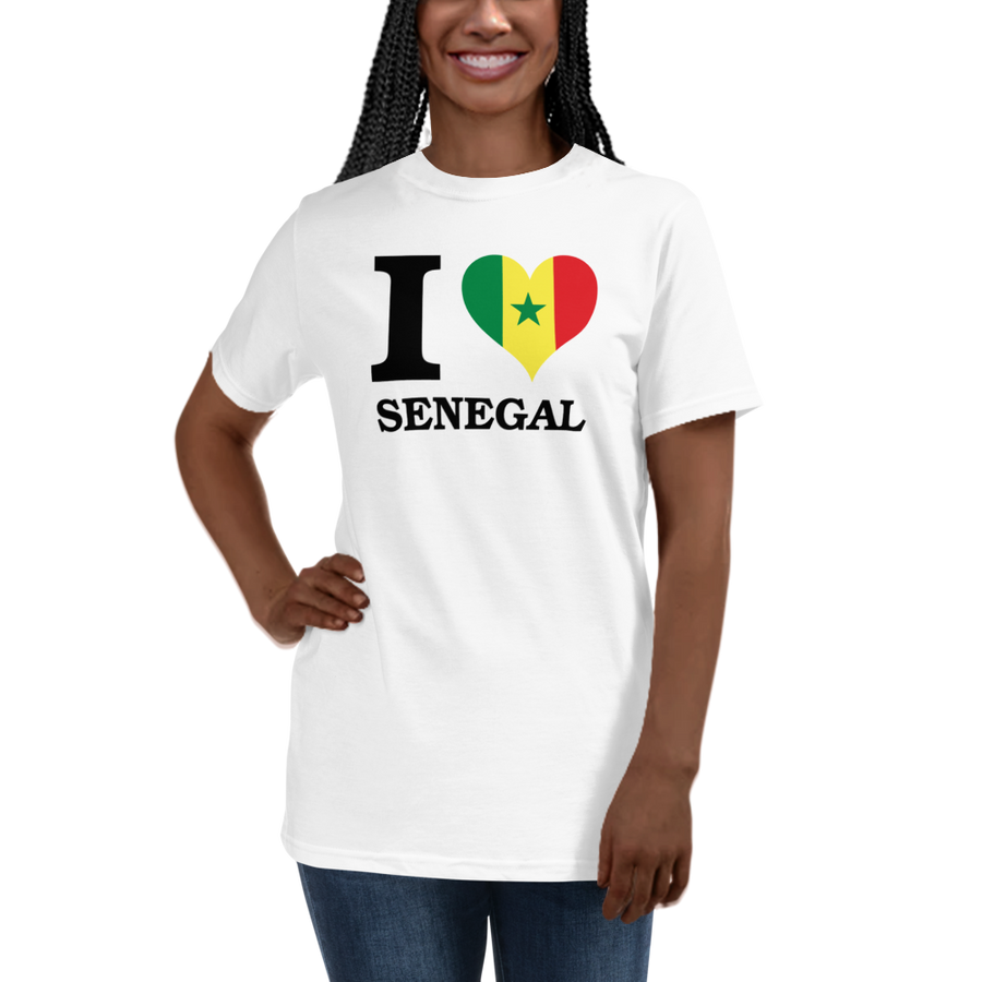 I ❤ SENEGAL (BLACK) — Women's Organic T-shirt