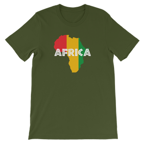 This olive green premium quality unisex T-shirt from Natty Wear is made of 100% high-quality combed ringspun cotton. The front print portrays a map of Africa in the Rastafarian colors (red, gold/yellow, green), which are also known as the Pan-African colors, with white color used for the text of the word 'Africa' which overlays the image