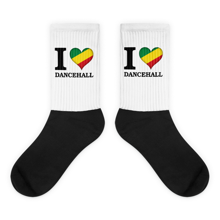 I ❤ DANCEHALL (RASTA/BLACK) — Cushioned Socks