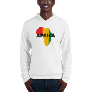 This white hoodie from Natty Wear is made of 52% ringspun cotton and 48% polyester fleece. The front print portrays a map of Africa in the Rastafarian colors