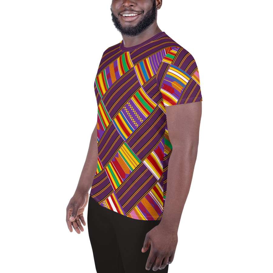 ASANTE KENTE 'MMIƐNSA' — Hand-sewn Men's Athletic T-shirt