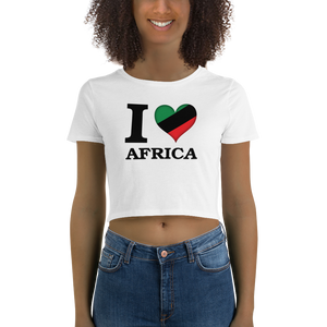I ❤ AFRICA (UNIA/BLACK) — Women's Crop Tee